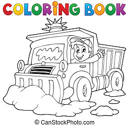 Coloring book snow plough - eps10 vector illustration
