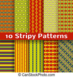 Different colorful stripy vector seamless patterns (tiling)....