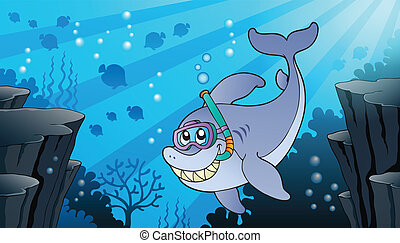 Image with shark theme 1 - eps10 vector illustration.