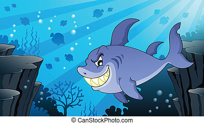 Image with shark theme 2 - eps10 vector illustration.