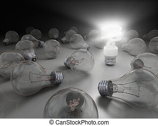 Bright idea - Concept of bright idea with eco lightbulb
