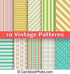 Different vintage stripe vector seamless patterns (tiling)....