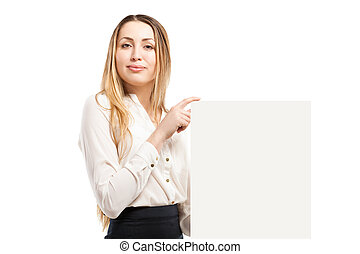 Young woman holding blank signboard. - Young woman holding...