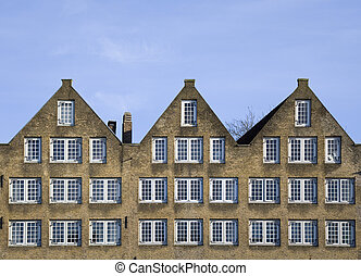 Traditional houses - Fa�ade of traditional houses in...