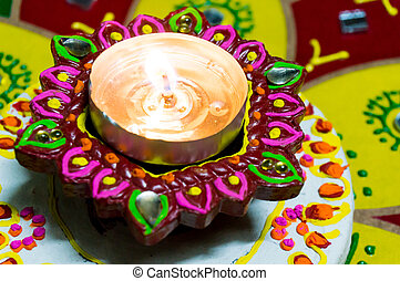Lamp (diya) for diwali - Lamp (diya) that is lit to...