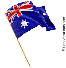 3D Australian flag with fabric surface texture. White...