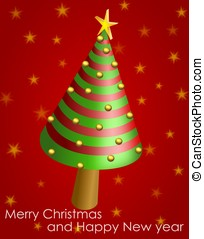 Wish card with conical Christmas tree and shiny balls