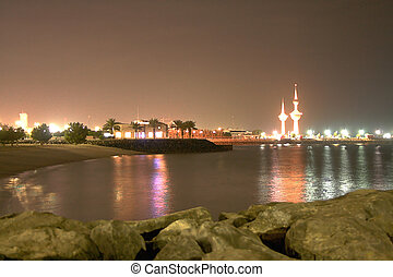 Kuwait Towers - Kuwait towers and bay, taken at 3 am