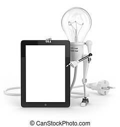 Robot lamp show info on tablet PC