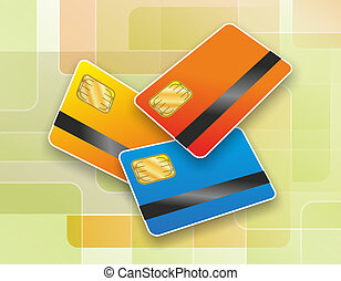 chipcard - illustration of three chip cards with magnetic...