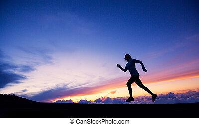 Female runner silhouette, running into sunset - Female...