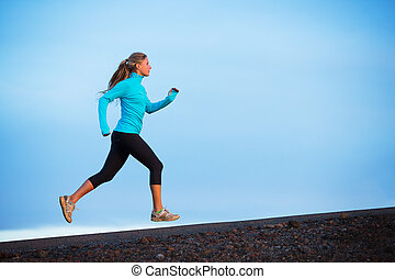 Athletic woman running jogging outside - Athletic woman...