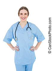 Woman doctor putting her hands on