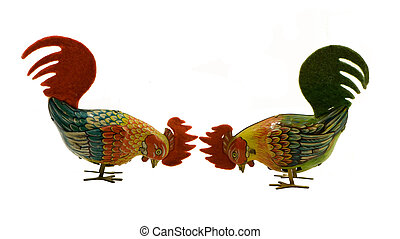 PAIR OF ANTIQUE TIN ROOSTERS - pair of antique mechanical...