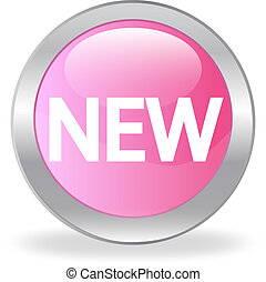 "The pink button with ""NEW"" inscription"
