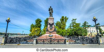 Monument to Emperor Alexander III in Irkutsk Russia -...