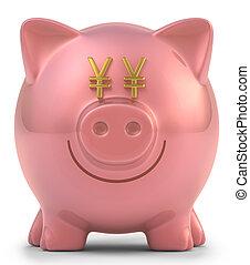 Piggy Bank Yen - Piggy bank with eyes yen sign. Clipping...
