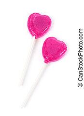 Pink Heart Shape Lollipop close up