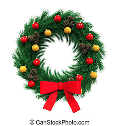 Christmas Wreath Decoration isolated on white background. 3D...