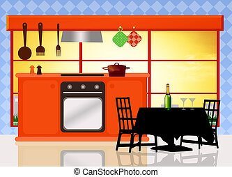 kitchen - illustration of kitchen