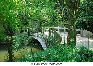Bridge in asian park as a concept of conservation nature