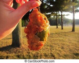 Stuffed jalapeno pepper popper - Fried mozzarella cheddar...