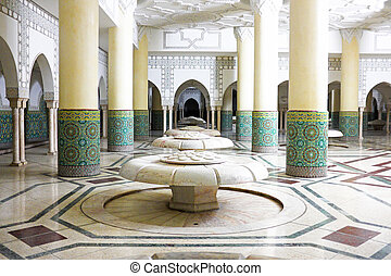 Interior arches and mosaic tile work of hammam turkish bath...