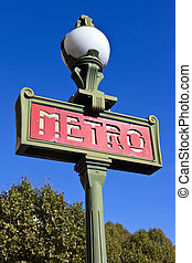 Sign for the Paris Metro - A sign for the Paris Metro Train...