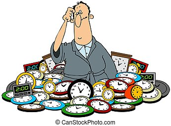 Man in a pile of clocks - This illustration depicts a...