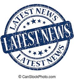 Latest news grunge blue round stamp