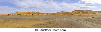 Panorama from the Erg Chebbi desert in Maroc Africa