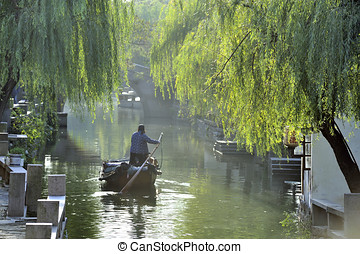 Water city of Zhouzhuang in China - Zhouzhuang, China -...