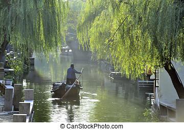 Water city of Zhouzhuang in China - Zhouzhuang, China -...