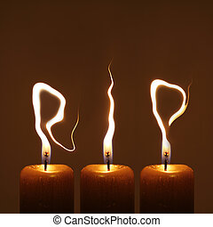 Rest in peace - RIP - Modified photo of three candles Flames...
