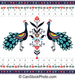 Embroidery Pattern With Peacocks - polish folk traditinal...