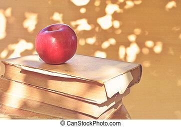 Vintage apple on old books