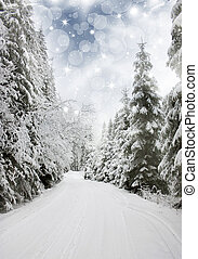 Beautiful winter landscape with snow covered trees -...