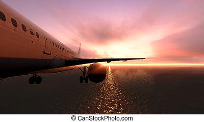 在上方, 飛機, 海洋