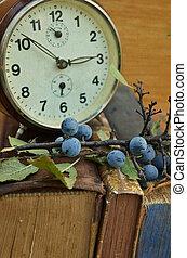 vendimia, Libros, viejo, reloj