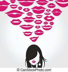 Kiss - The girl thinks of a kiss A vector illustration