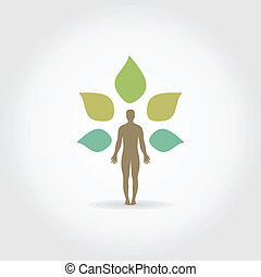 Person a plant - Plant and the person A vector illustration