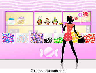 Woman buys candy - illustration of candy shop