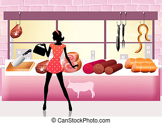 resh meat - Woman buys fresh meat