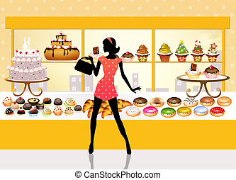 woman buys pastries - illustration of pastry