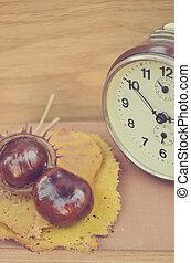 クリ, 型, 本, 古い, 時計