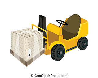 A Forklift Truck Loading A Shipping Box with Plastic Wrap -...