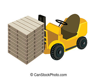 A Forklift Truck Loading Stack of Wood Pallets - Powered...