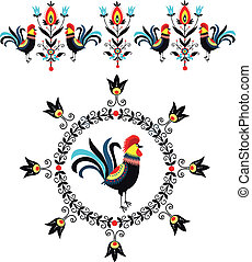 Folk Decorations Of Roosters - folk decoration - polish...