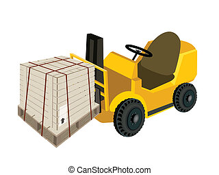 A Forklift Truck Loading A Shipping Box with Steel Strapping...
