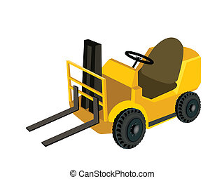 A Powered Industrial Forklift Truck on White Background - An...